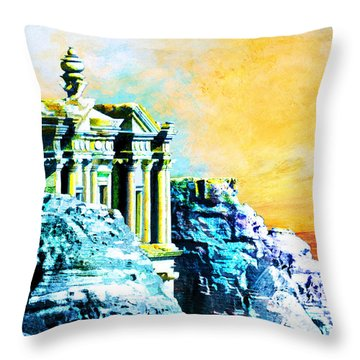 Rock Hewn Monastery Ad-deir Throw Pillow by Catf
