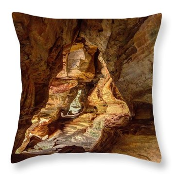 Rock House At Hocking Hills Oh Throw Pillow