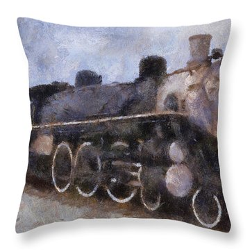 Rock Island Locomotive Engine Photo Art Throw Pillow by Thomas Woolworth