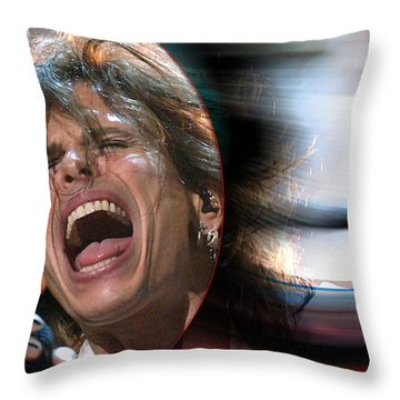 Rock N Roll Steven Tyler Throw Pillow by Marvin Blaine