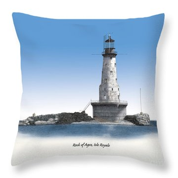 Rock Of Ages Lighthouse Titled Throw Pillow by Darren Kopecky