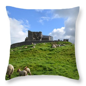 Rock Of Cashel In The Distance Throw Pillow by DejaVu Designs