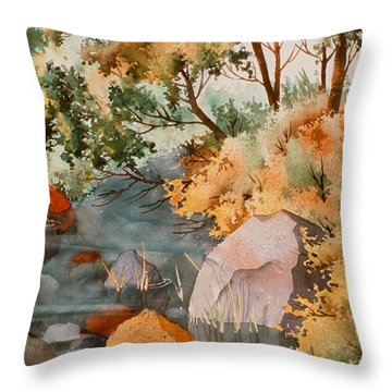 Rock Reflections Throw Pillow by Teresa Ascone