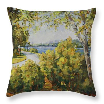 Rock River Bike Path Throw Pillow