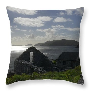 Rock Ruin By The Ocean - Ireland Throw Pillow by Mike McGlothlen