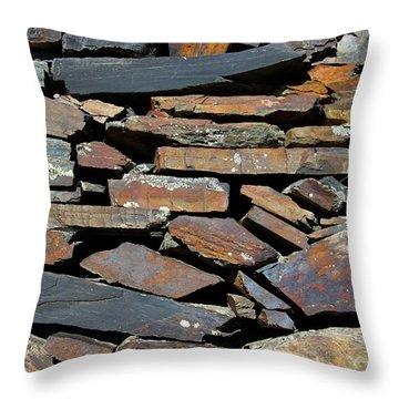 Throw Pillow featuring the photograph Rock Wall Of Slate by Bill Gabbert