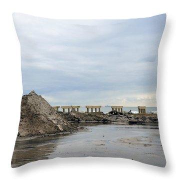 Rockaway Beach After Hurricane Sandy 4 Throw Pillow