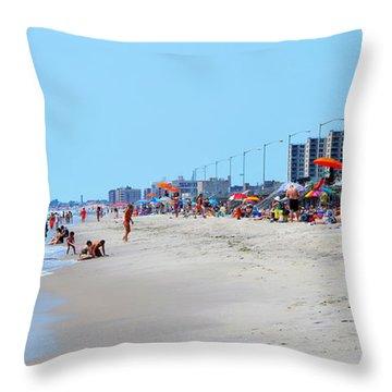Rockaway Beach And Boardwalk Summer 2012 Throw Pillow