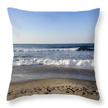 Rockaway Beach Morning Shoreline Throw Pillow