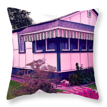 Rockaway Point Bungalow Pink And Blue Throw Pillow