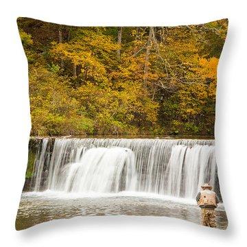 Throw Pillow featuring the photograph Rockbridge Fisherman by Steven Bateson
