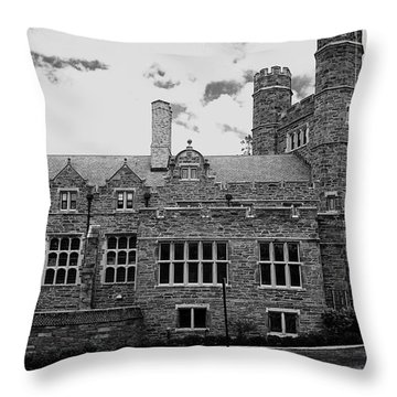 Rockefeller Hall - Bryn Mawr In Black And White Throw Pillow