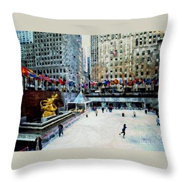 Rockefeller Center Ice Skaters Nyc Throw Pillow