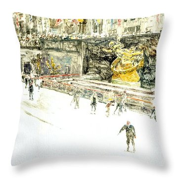 Rockefeller Center Skaters Throw Pillow by Anthony Butera