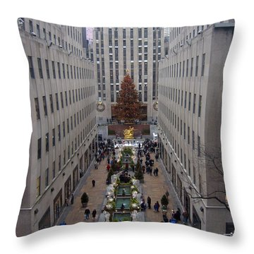 Rockefeller Plaza At Christmas Throw Pillow by Judith Morris