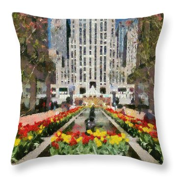 Rockefeller Plaza Throw Pillow by George Atsametakis