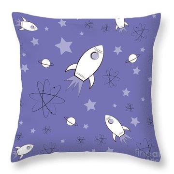 Rocket Science Purple Throw Pillow by Amy Kirkpatrick