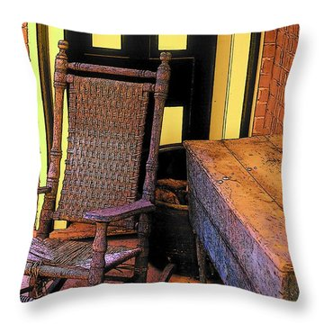 Rocking Chair And Woodbox Throw Pillow by Rodney Lee Williams
