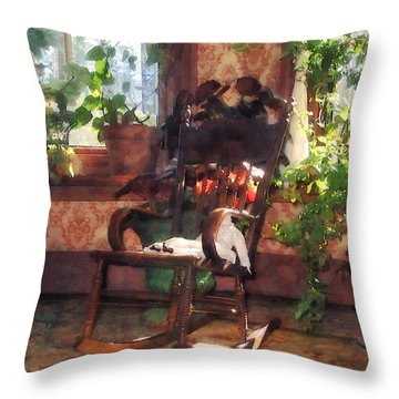 Rocking Chair In Victorian Parlor Throw Pillow by Susan Savad