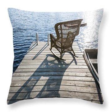 Rocking Chair On Dock Throw Pillow by Elena Elisseeva