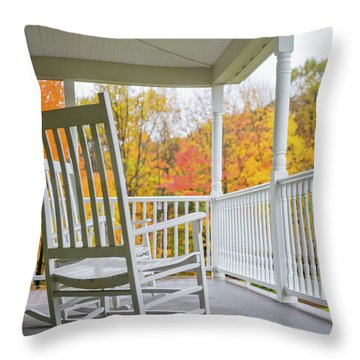 Rocking Chairs On A Porch In Autumn Throw Pillow