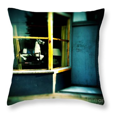 Rocking Horse In Window Throw Pillow by Amy Cicconi