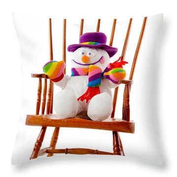 Throw Pillow featuring the photograph Happy Snowman Sitting In A Rocking Chair  by Vizual Studio