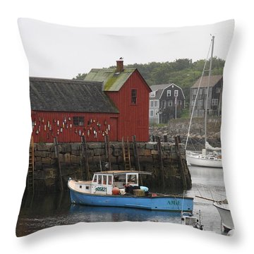 Rockport Inner Harbor With Lobster Fleet And Motif No.1 Throw Pillow