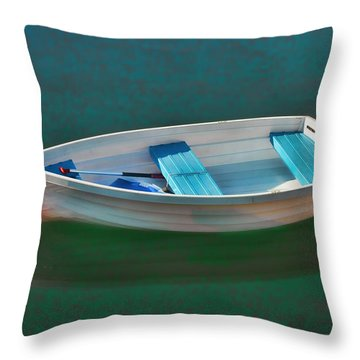 Rockport Row Boat Throw Pillow by Joann Vitali