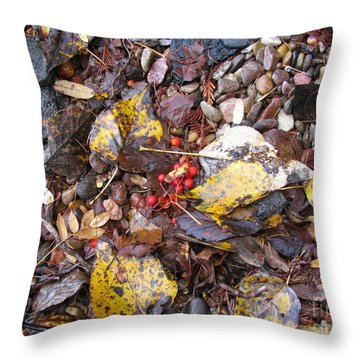Rocks And Berries Throw Pillow by Leone Lund