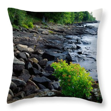 Rocks And Trees Along Lake Superior Throw Pillow
