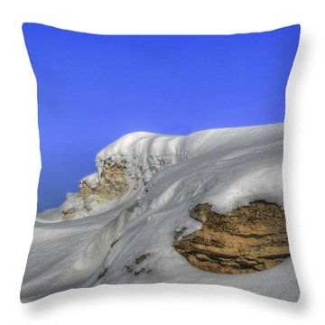 Rocks Covered With Snow Against Clear Blue Sky Throw Pillow