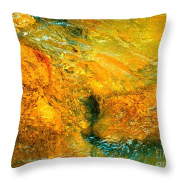 Rocks Under The Stream By Christopher Shellhammer Throw Pillow