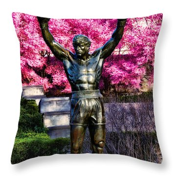 Rocky Among The Cherry Blossoms Throw Pillow by Bill Cannon