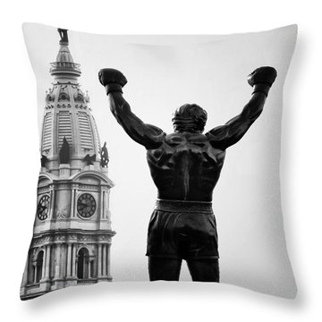 Rocky And Philadelphia Throw Pillow by Bill Cannon