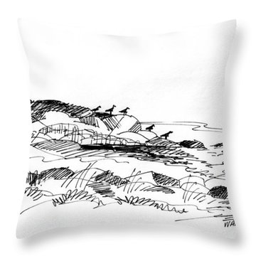 Throw Pillow featuring the drawing Rocky Beach Monhegan 1998 by Richard Wambach