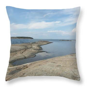 Rocky Coastline In Hamina Throw Pillow