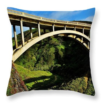 Rocky Creek Bridge Throw Pillow by Benjamin Yeager