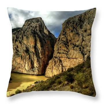 Throw Pillow featuring the photograph Rocky El Chorro In Andalusia by Julis Simo