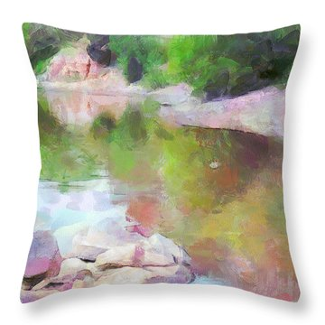 Throw Pillow featuring the painting Rocky Lake by Wayne Pascall