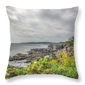 Throw Pillow featuring the photograph Rocky Maine Shoreline by Jane Luxton