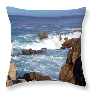 Rocky Monterey Coast Throw Pillow