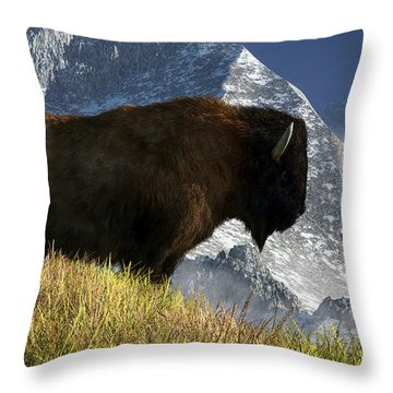 Rocky Mountain Buffalo Throw Pillow