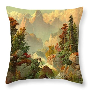 Rocky Mountain Cascade 1879 Throw Pillow by Padre Art