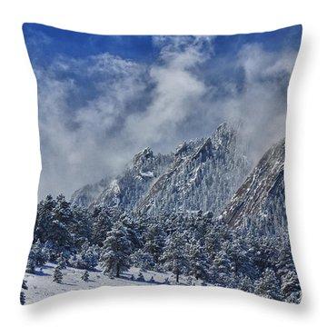 Rocky Mountain Dusting Of Snow Boulder Colorado Throw Pillow