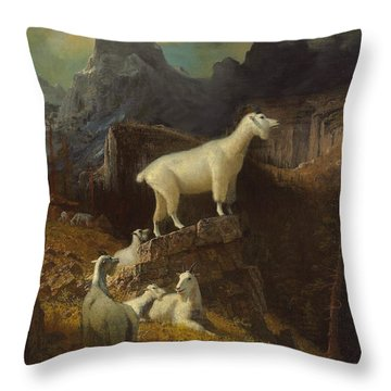 Rocky Mountain Goats Throw Pillow by Albert Bierstadt