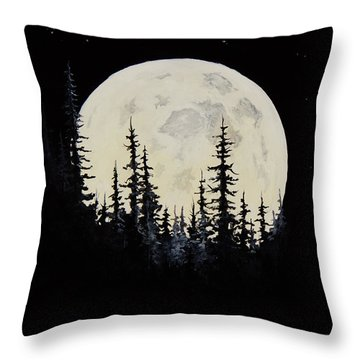 Rocky Mountain Moon Throw Pillow by C Steele