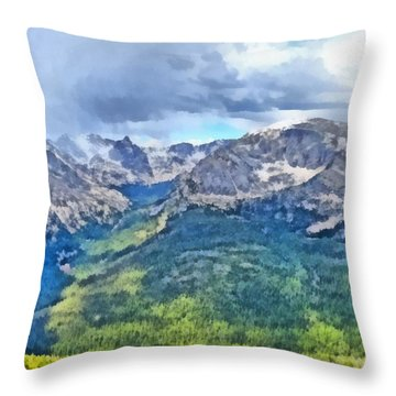 Rocky Mountain National Park Painting Throw Pillow by Dan Sproul
