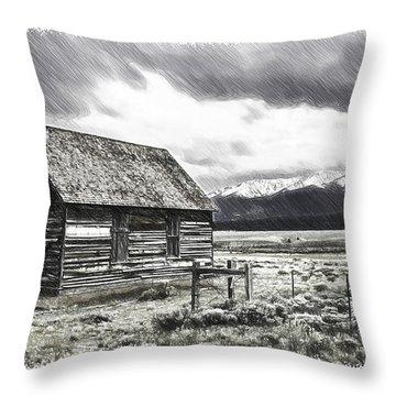 Rocky Mountain Past Throw Pillow by John Haldane
