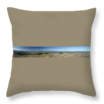 Rocky Mountain Rooftop Panoramic Throw Pillow by Jeremy Rhoades